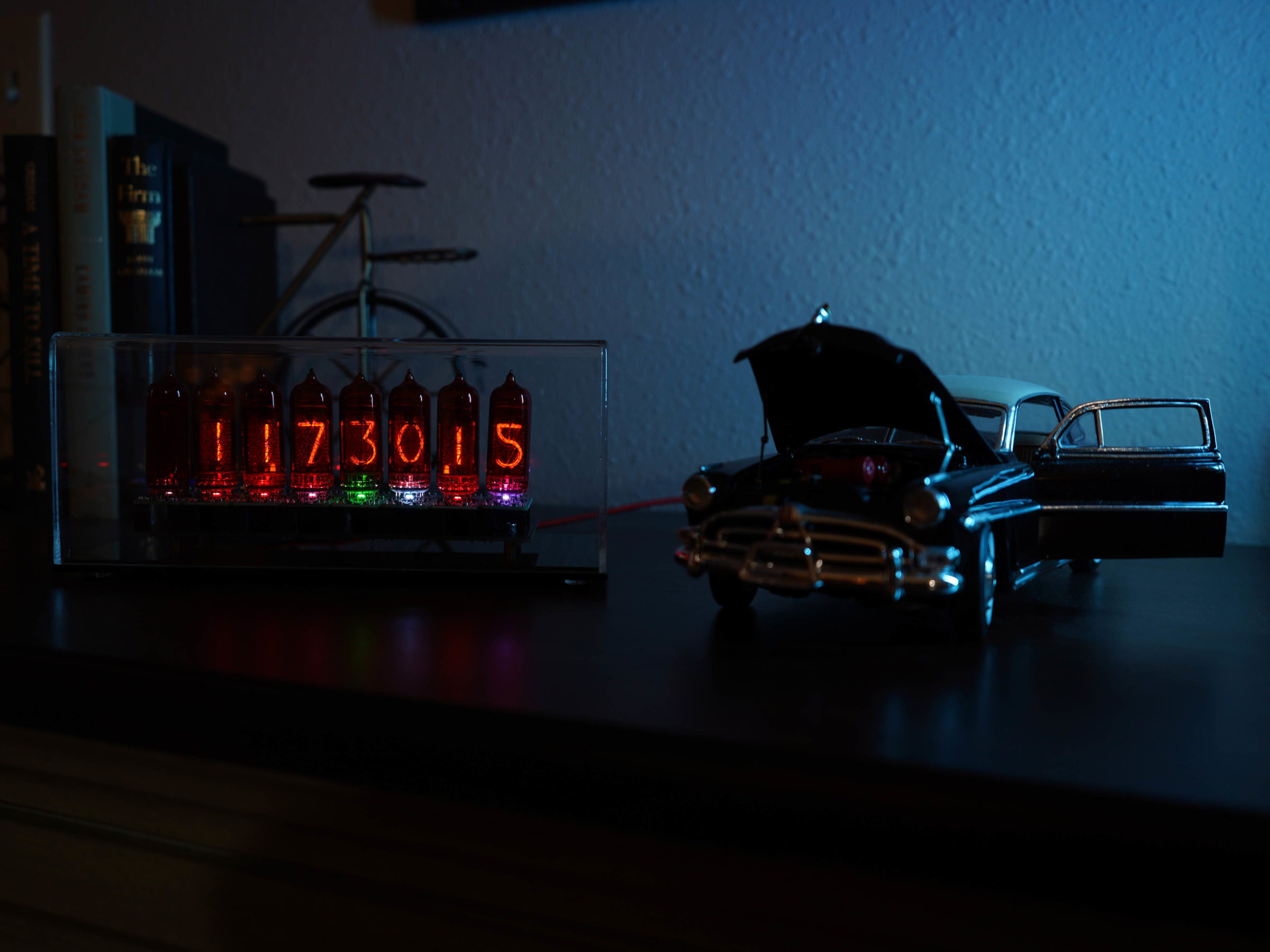 Voltage Goat Vintage IN14 Nixie Bitcoin Ticker with Car